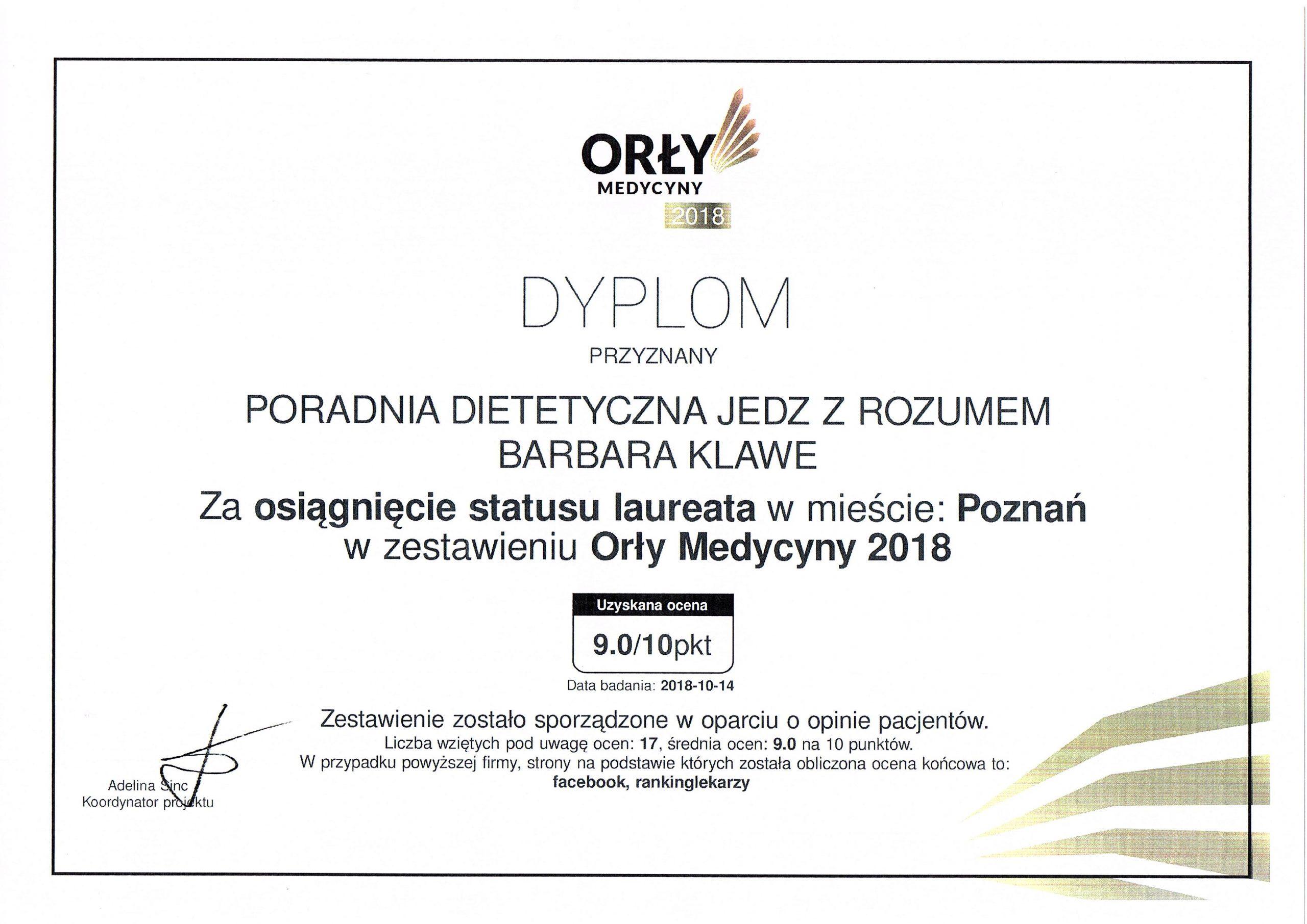 Certyfikat Orły Medycyny